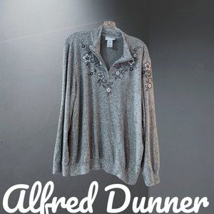 Alfred Dunner Floral Embellished Grey Sweater XL